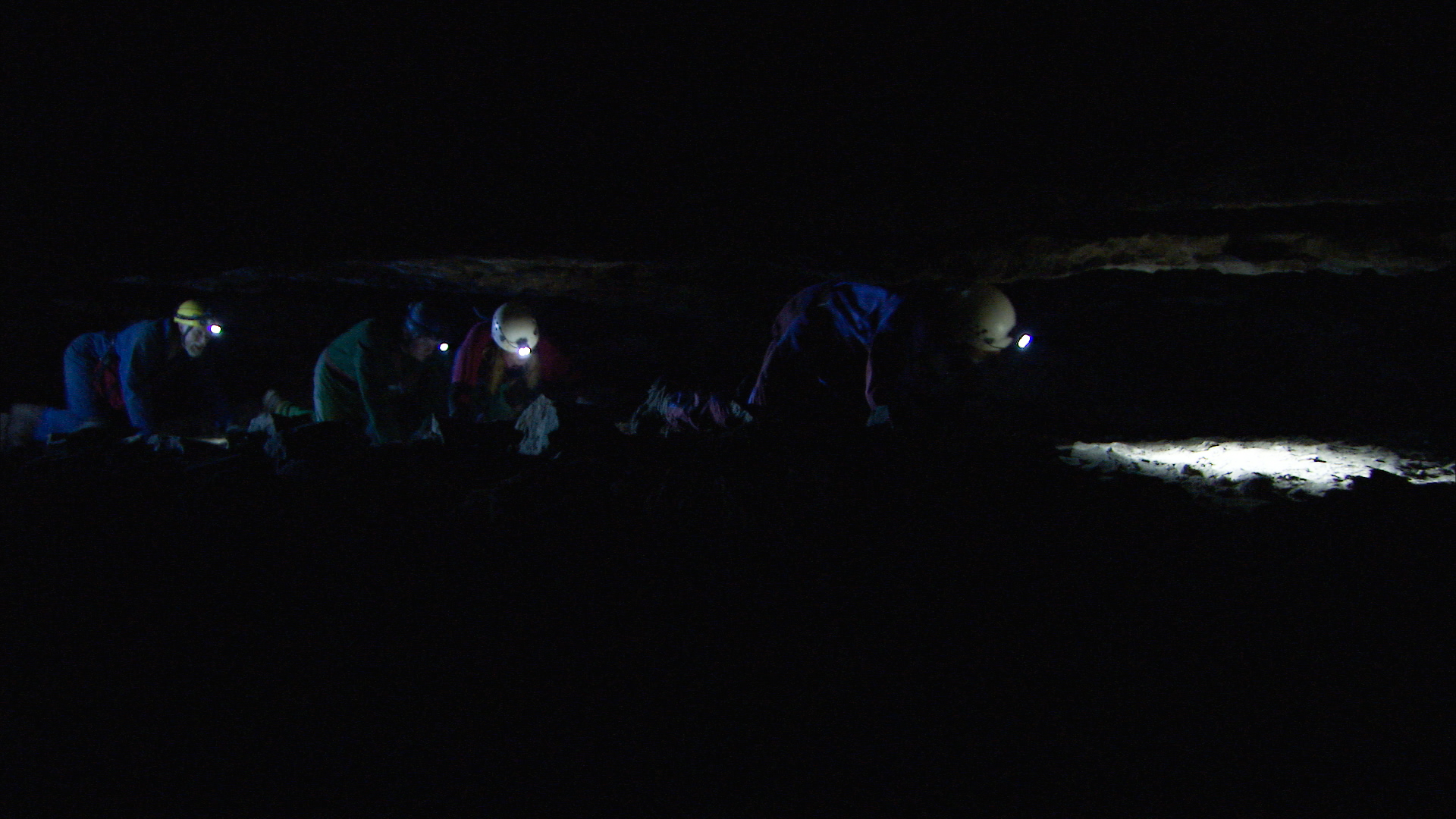 crawling through tight caves at mammoth caves