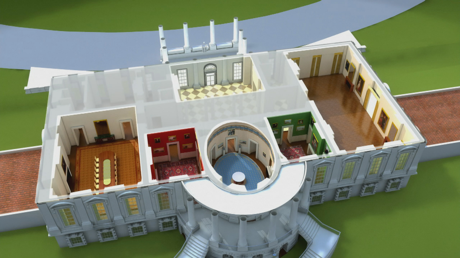 animated white house model
